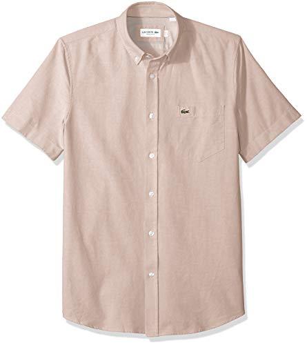 Lacoste Mens Short Sleeve Oxford Button Down Collar Regular Fit Woven Shirt, CH4975