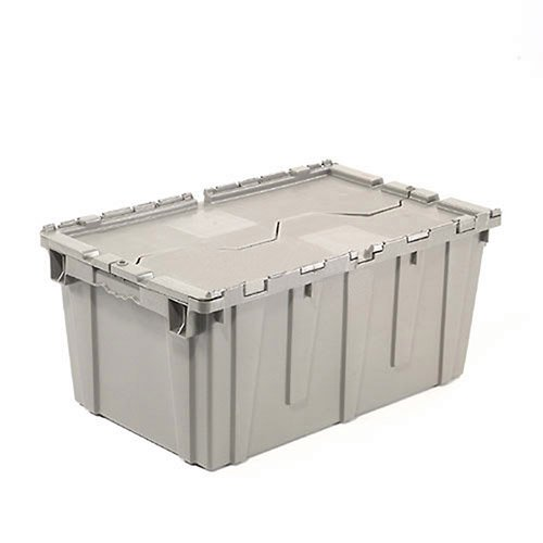 Distribution Container With Hinged Lid, 21.9x15.3x9.7, Gray by Monoflo