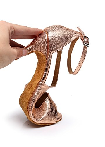 Synthetic TQJ5009 7 Ballroom Shoes Gold US Women's Sandals Stylish Wedding Dance Latin Tango Minitoo Rose Evening M dwX6dq