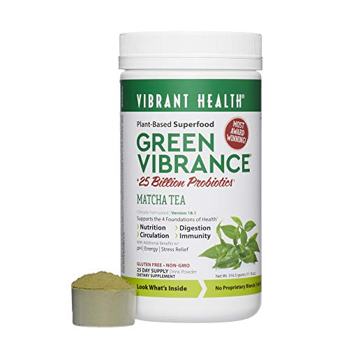 Vibrant Health, Green Vibrance Matcha Tea, Plant-Based Superfood Powder, 25 Billion Probiotics Per Scoop, Vegetarian and Gluten Free, 25 Servings (Best Green Tea Brand For Health)