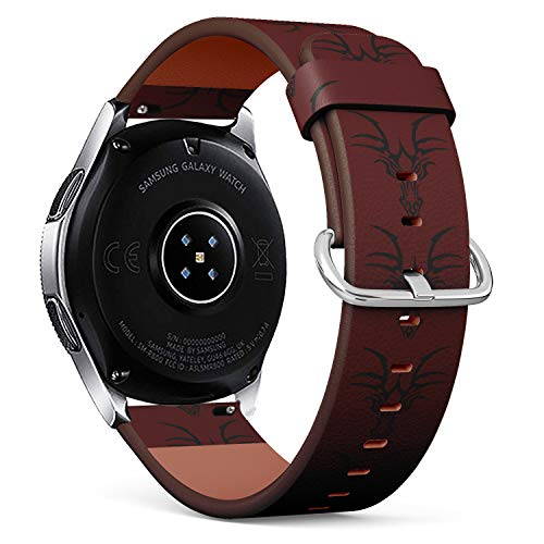 (S-Type Replacement Leather Strap Printing Wristbands Compatible with Samsung Galaxy Watch 42mm 46mm Watch Band - Evil Dragon Head )