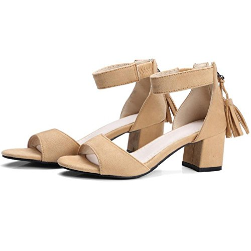 Coolcept Women Solid Block Heel Sandals Tassel Beige-yellow 9Tkut9