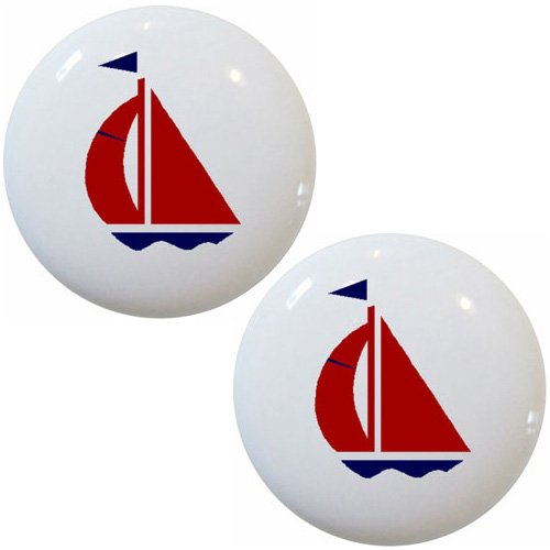 Set of 2 Red & Navy Sailboat Ceramic Cabinet Drawer Pull Knobs