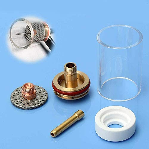 LIZANAN 5Pcs TIG Welding Torch Glass Cup Champagne Nozzle Kit for WP17/18/26 3/32 2.4Mm Collet Lens Insulator Set Welding Torch