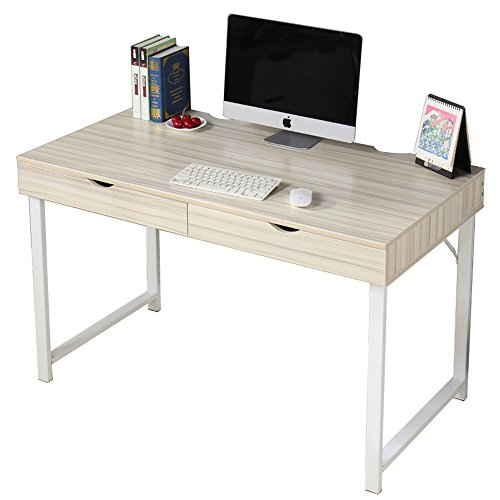 Dland Home Office Computer Desk with 2 Drawers 858-MW, Composite Wood Board with Metal Frame, Maple White Leg, 47
