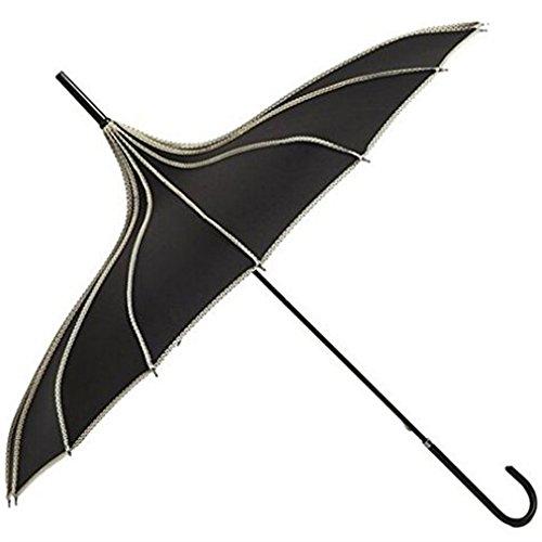 Hofumix Parasol Umbrella Pagoda Umbrella Sun Umbrella UV Protector Retro Umbrella with Hook Handle (Black) - Costumes Parasol