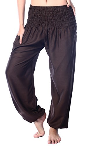 Boho Vib Women's Rayon Elephant Print Boho Harem Yoga Pants (L/XL, Solid Brown) ()