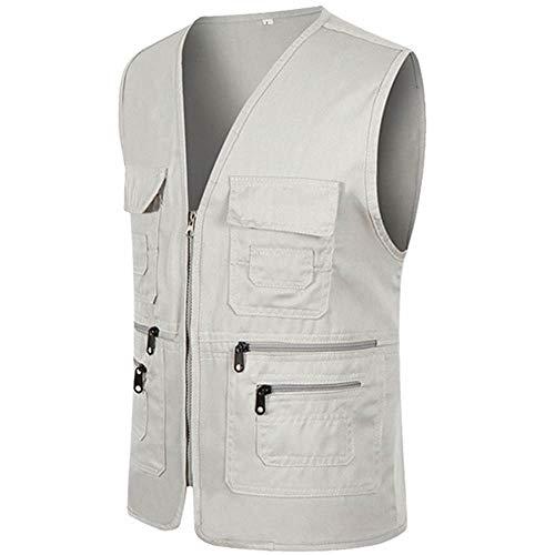 (iDWZA Men Zipper Casual Multi Pocket Sleeveless Jacket Coat British Suit Vest Blouse(Gray,L))