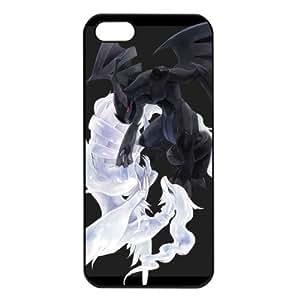 2015 customized Pokemon Popular Reshiram Zekrom Apple iPhone 5 TPU Soft Black or White Cases (Black)