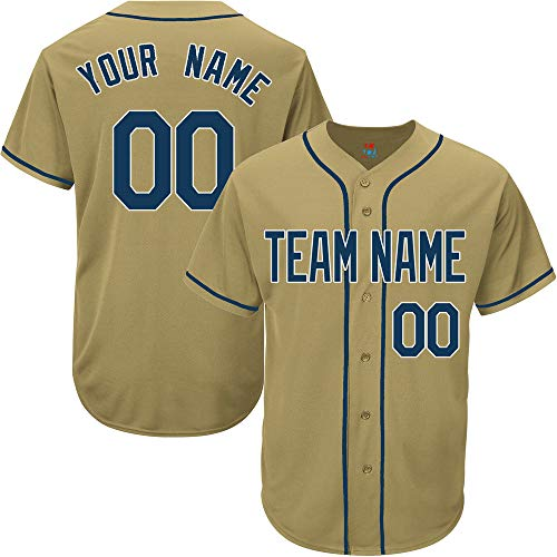 Gold Customized Baseball Jersey for Men Game Embroidered Team Player Name & Numbers,Navy-White Size M ()