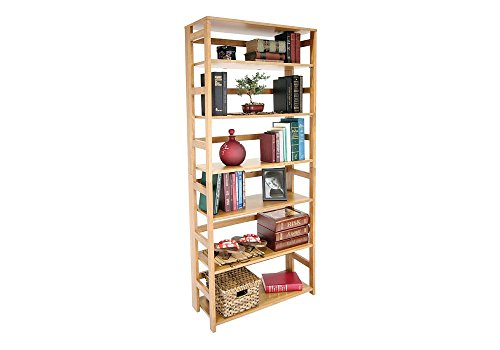 Wood Six-Shelf Folding Bookcase Dimensions: 29.5