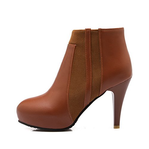 Boots High Zipper WeiPoot high Materials Blend Women's Brown Closed Heels Ankle Round Toe 5PX6Xwqx