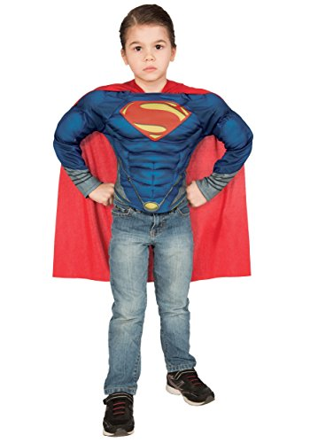 Superman: Man Of Steel Superman Muscle Chest Shirt Box Set, Blue (Superman: Man Of Steel Cape)