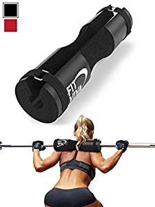 Fit Viva Black Barbell Pad for Standard and Olympic Barbells with Velcro Safety Straps - Foam Pad for Weightlifting, Hip Thrusts, Squats, and Lunges