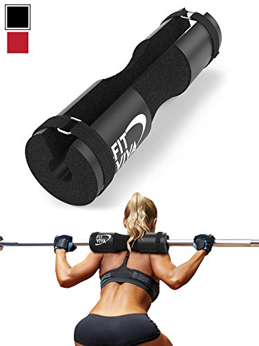 Black Barbell Pad for Standard and Olympic Barbells with Velcro Safety Straps - Foam Pad for Weightlifting, Hip Thrusts, Squats, and Lunges Standard Bar Pad