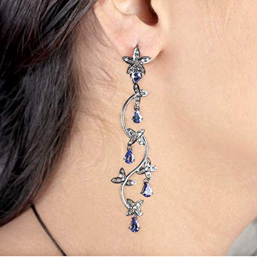 - 1.4 Ct. Natural Diamond Pave Tanzanite Designer Flower Dangle Earrings 925 Silver Fine Handmade Vintage Jewelry Valentine Gift For Her Same Day Shipping
