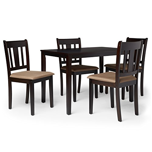 Contemporary Wood 5 Piece Dining Set with Upholstered Seat in Espresso Finish - Includes Modhaus Living Pen