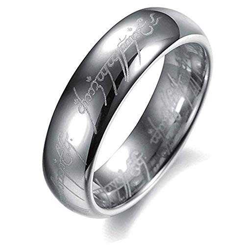 AMSENC The One Ring Lord The Rings Style Tungsten Ring Gold Color Lord Rings Laser Etched (Silver, 10) (Lord Of The Rings Tcg Card List)