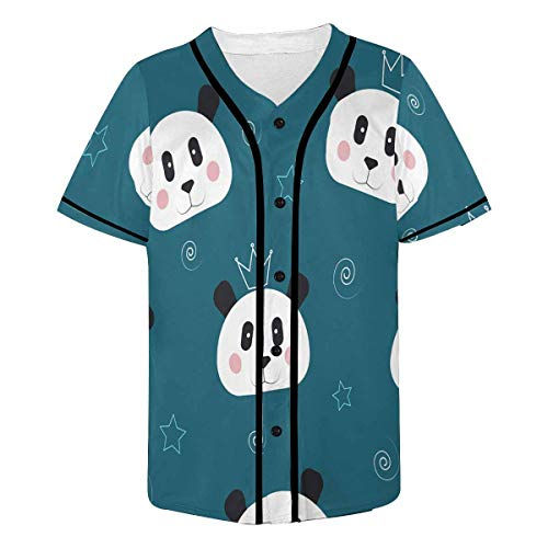 INTERESTPRINT Men's Panda Baseball Jersey Button Down T Shirts M