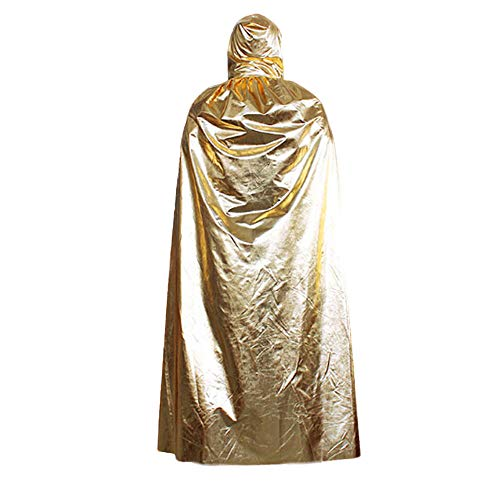 UONQD 1PC Hooded Cloak Coat Wicca Robe Medieval Cape Shawl Halloween Party(Free Size,Gold) -
