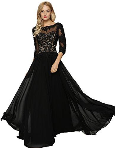 Meier Women's Lace Appliqued Mother Of The Bride Evening Dress Black Size 6