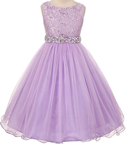 Sequined Bodice (Glitters Sequined Bodice Double Layer Tulle Rhinestones Sash Flower Girl Dress for Big Girl Lilac 10 MBK 340)