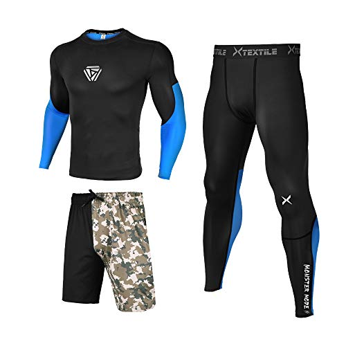 - Xtextile 3 Pcs Men's Workout Set with Compression Pants, Long Sleeve Shirts and Loose Fitting Shorts (Black/Blue/Army Green, XX-Large)