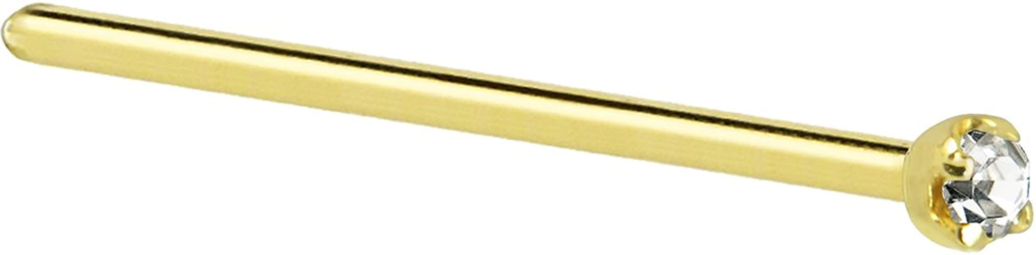 Body Candy Solid 14k Yellow Gold 1.5mm 0.015 cttw Genuine Diamond Straight Fishtail Nose Stud Ring 20 Gauge 17mm G-582