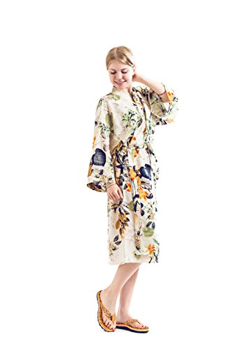 Robe&Wedding Bride Robe Women Robe Cotton Robe Long Style (White-Orange) -