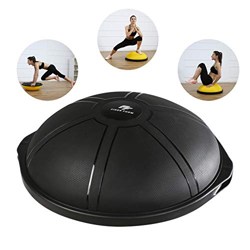 Finer Form Hall Ball Balance Trainer for Home Gym Training, Yoga, Full-Body Workout (Matte Black)