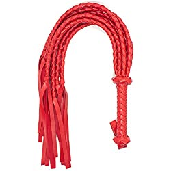 BootKitchenTan Red Soft Braided PU Leather Whips Bullwhips With Braided Handle Flogger