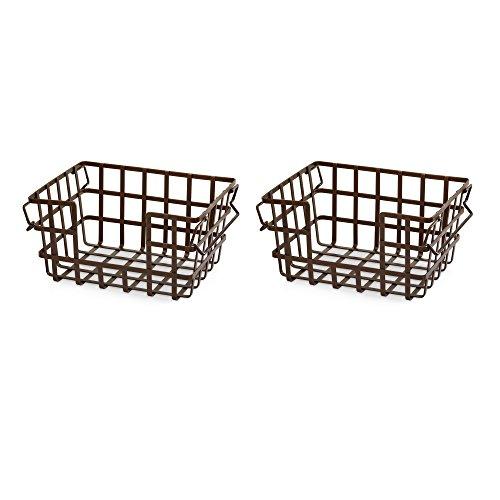 Seville Iron - Seville Classics Bronze Iron Slat Stacking & Nesting Storage Baskets, 13.5