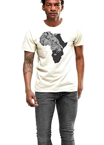 Africa T-shirt African Map Cotton Tee Black History Haile Selassie I Jah Rasta Roots (Large, White) (T-shirt Map Africa)