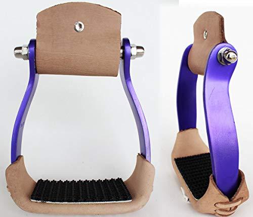PRORIDER Horse Barrel Racing Aluminum 5″ Wide Western Saddle Stirrups Purple Tack 5175PR