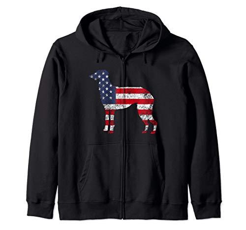 (American Patriotic Scottish Deerhound ACZ047a  Zip Hoodie)