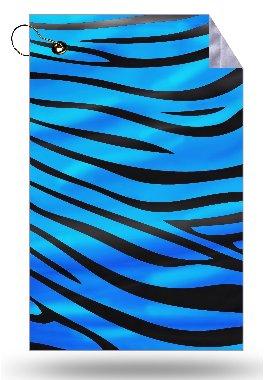Vibrant Blue Zebra Stripe Design Microfiber Velour 11x18