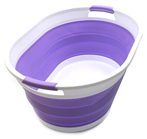 SAMMART Collapsible Plastic Laundry Basket - Oval Tub/Basket - Foldable Storage Container/Organizer - Portable Washing Tub - Space Saving Laundry Hamper (Lt. Purple)