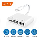 SD Card Reader, Digital Camera Reader Adapter Cable, Tail Camera Card Reader for Hunting, Lighting to SD Card Camera Reader, SD/TF Card Reader No App Needed, Support iOS 12 & Before