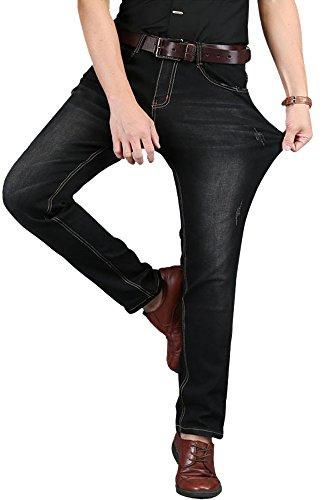 HENGAO Men's Stretch Fit Casual Denim Jeans Pants, Black, W38