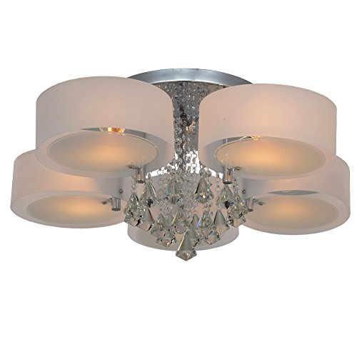(RH RUIVAST Ceiling Lamp Crystal Light Chandelier Lighting Semi Flush Mount Ceiling Lights 5-Lights Modern Ceiling Light Fixture for Dining Room, Living Room,)