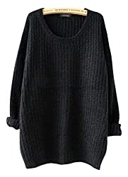Arjosa Women S Fashion Oversized Knitted Crewneck Casual Pullovers Sweater 3 Black