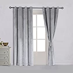 Super Soft Luxury Velvet Set of 2 Smoky Gray |Silver Gray Classic Blackout Curtains Panels Home Theater Grommet Drapes Eyelet 52Wx84L-inch Light Grey(2 panels)