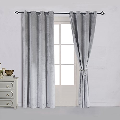 Super Soft Luxury Velvet Set of 2 Smoky Gray |Silver Gray Classic Blackout Curtains Panels Home Theater Grommet Drapes Eyelet 52Wx84L-inch Light Grey(2 panels) (Curtains Silver Grey)