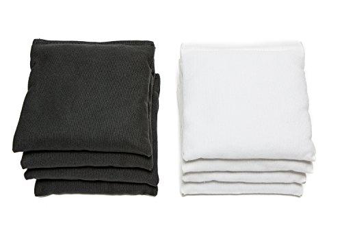 Weather Resistant Cornhole Bags (Set of 8) by SC Cornhole (Black/White)