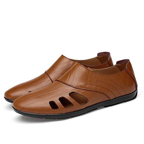 Hombres Negro amp;Baby Brown Sunny Barcos de EU para Tamaño Hollow Color Cuero para 42 Mocasines Opcionales Huecos Mocasines Antideslizante Casuales sintético Zapatos 1t1pa