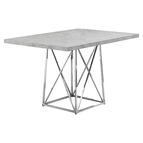 "Monarch Specialties I Dining Table Metal Base, 36"" x 48"", Grey Cement/Chrome"