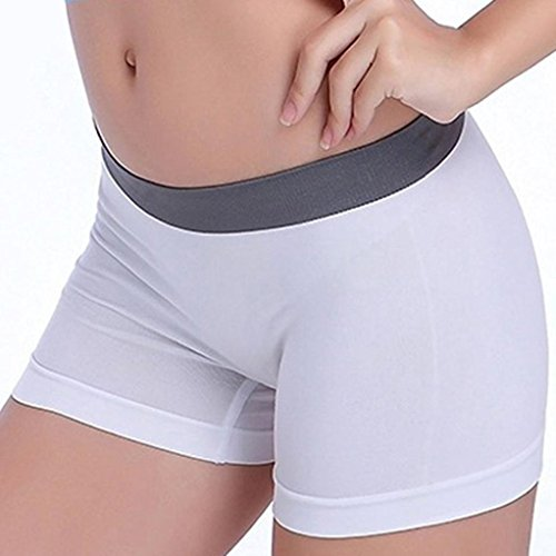 Women Elastic Shorts, Witspace Breathable Comfortable Boxer Sports Workout Yoga Underwear Waistband Skinny Gym Pants (White, L)