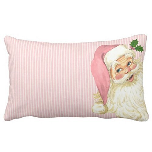 Acelive 12 x 18 Inches Pink Vintage Victorian Santa Claus Shabby Colors Christmas Lumbar Pillow Covers for Sofa Bedroom Living Room Square New Year Gifts