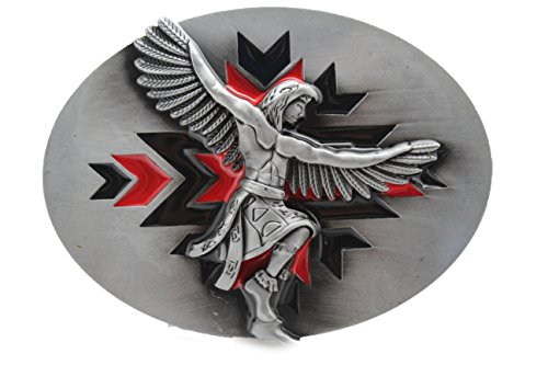 TFJ Men Belt Buckle Western Cowboys Silver Metal Native American Indian Warior Eagle - Texas Square Face