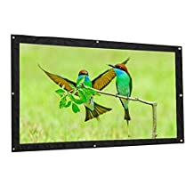 """Portable Projection Screen, 16:9 HD Matte Movie Screen Folded Tabletop White Home and Outdoor Projector Screen with Hanging Hole for Rear Projection, Canvas Fabric (60"""" 16:9)"""